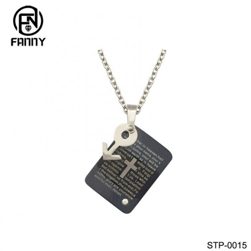 Women Plating IPB Black Lettering 316L Stainless Steel Necklace Pendant