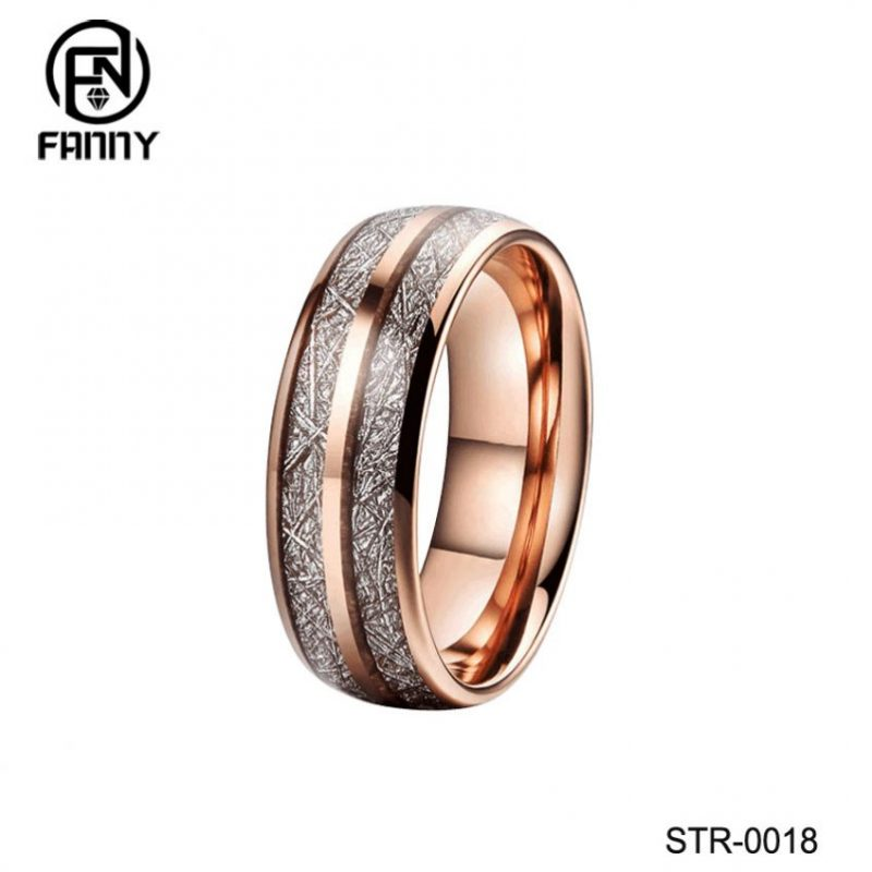 Rose Gold Plated Stainless Steel Wedding Ring with Imitation Meteorite