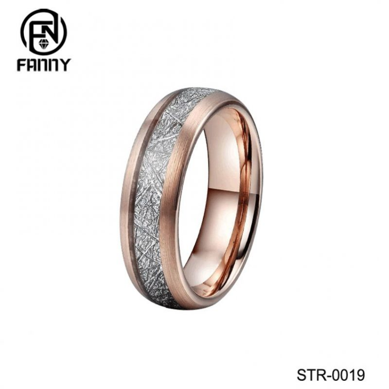 Stylish Surgical Stainless Steel Rings Set with Artificial Meteorite