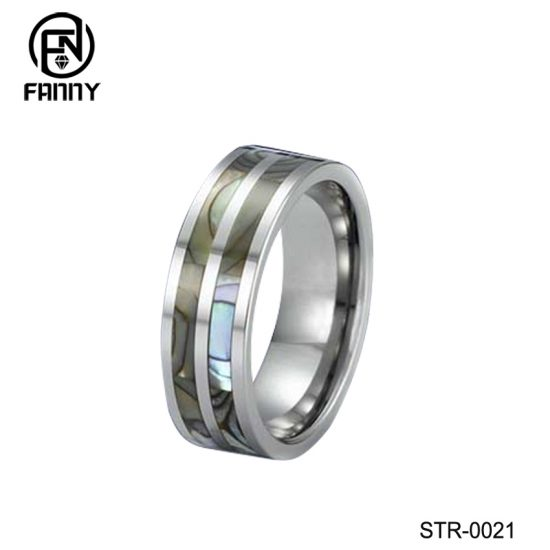 High quality polished stainless steel abalone shell ring gift between couple Factory