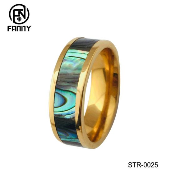 Men's Gold-Plated Stainless Steel Ring with Abalone Mother-of-pearl Chinese Manufacturer