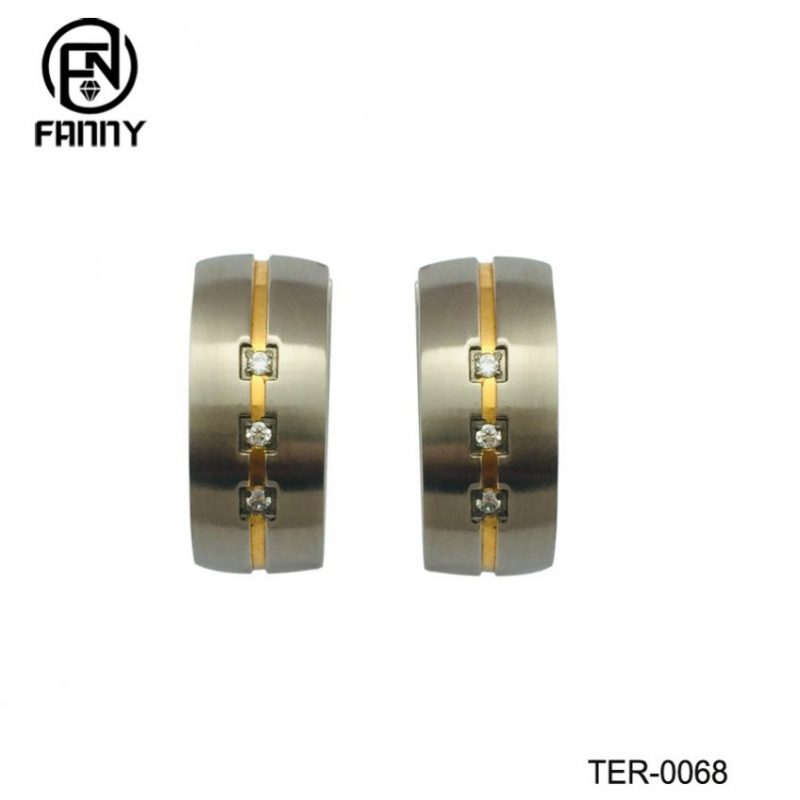 Fashion Men and Women Pure Titanium Earrings with CZ Stone