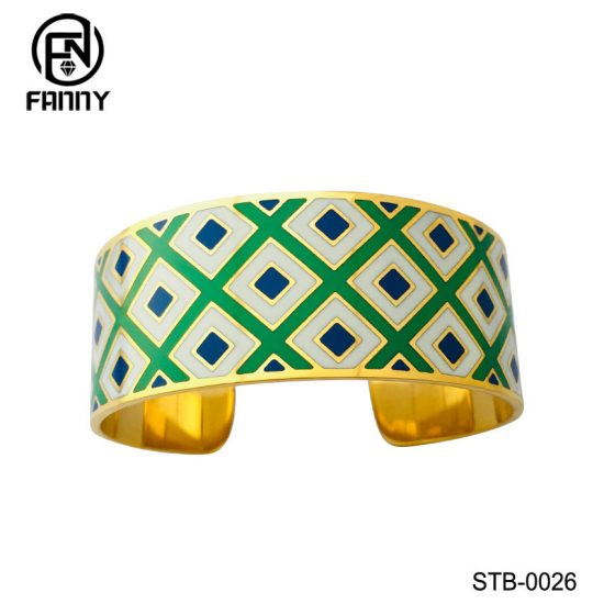 PVD Golden Quality Surgical Stainless Steel C-Shaped Bangle with Filled Enamel China Factory