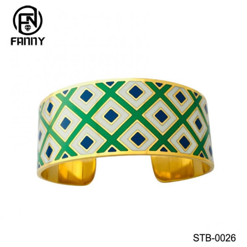 PVD Golden Quality Surgical Stainless Steel C-Shaped Bangle with Filled Enamel