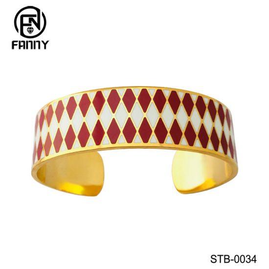 Customized Surgical Stainless Steel C-Shaped Bangle with Corrosion Pattern Chinese Manufacturer