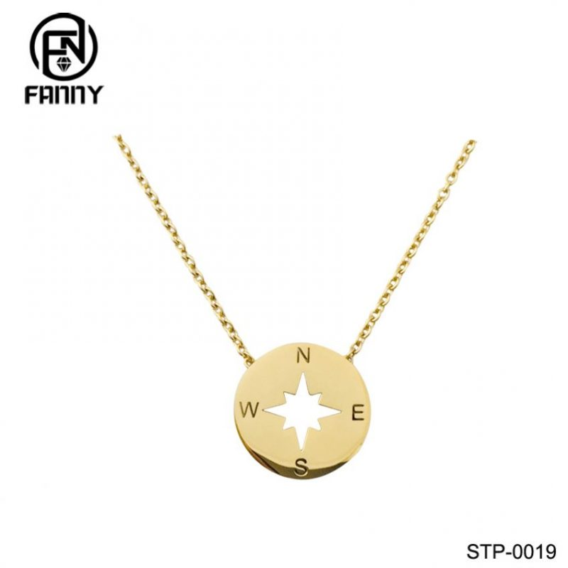 Hollow Pattern Round High-Quality 316L Stainless Steel Pendant Necklace