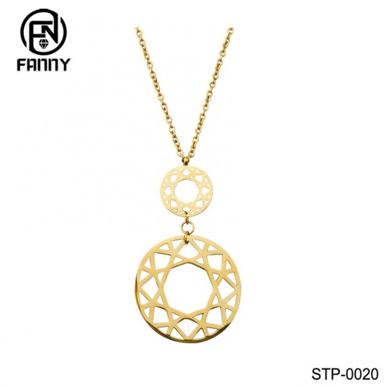 Fashion Lady Hollow Pattern High Quality Surgical Stainless Steel Pendant Necklace