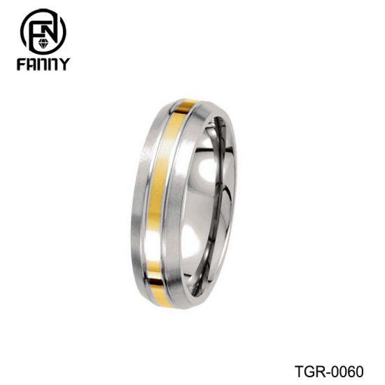Men's Domed Titanium 14k Yellow Glod Inlay Brushed Wedding Band China Factory