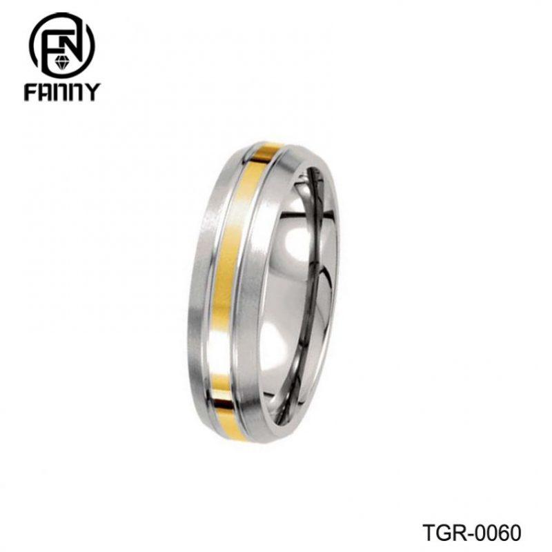 Men's Domed Titanium 14k Yellow Glod Inlay Brushed Wedding Band Manufacturers