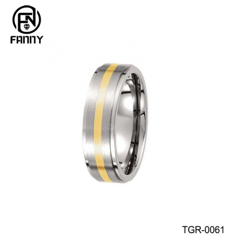 18K Yellow Gold Inlay Men's Wedding Ring In Titanium Men's Ring