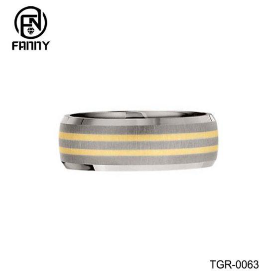 Titanium with Two-Tone 14k Gold Inlay Satin Wedding Band Men's Ring Titanium Jewelry Factory