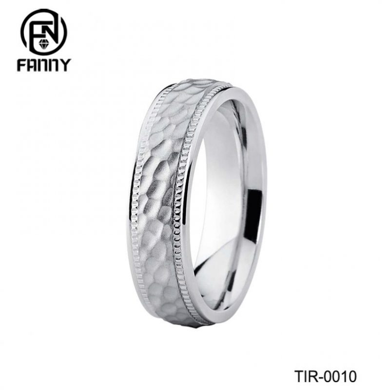 Personalized Custom Dome  Hammered Titanium Wedding Ring