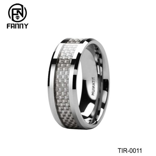 Men's Titanium Wedding Ring with Carbon Fiber Inlay Customized Designs China Factory
