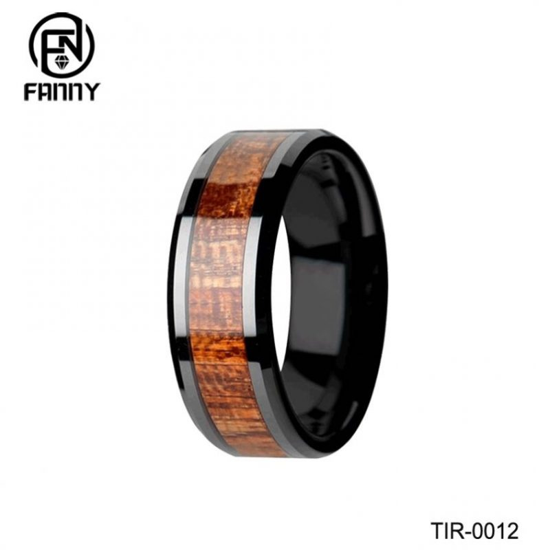 Black Titanium Polished Beveled Edges KOA Wood Inlaid Men's Wedding Ring
