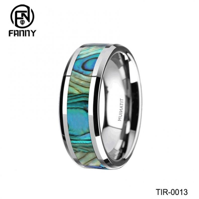 Titanium Men's Wedding Band with Mother of Pearl Inlay Engagement Wedding Band ring