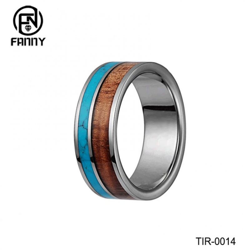 Titanium Ring Turquoise Hawaiian Koa Wood Inlay Wedding Band or Gift Jewelry