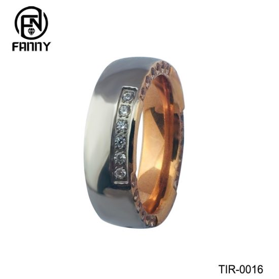 Rose Gold And Shiny Titanium Men's Wedding Band OEM Jewelry Factory