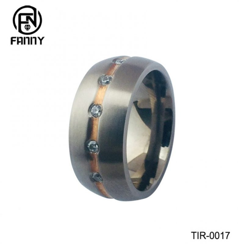 Custom Jewelry Manufacturers Rose Gold Titanium Ring With Crystal For Woman Jewelry Wedding Promise Rings