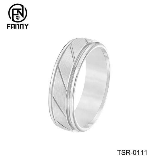 Classic Slotted Brushed Tungsten Carbide Wedding Rings for Men and Women China Factory