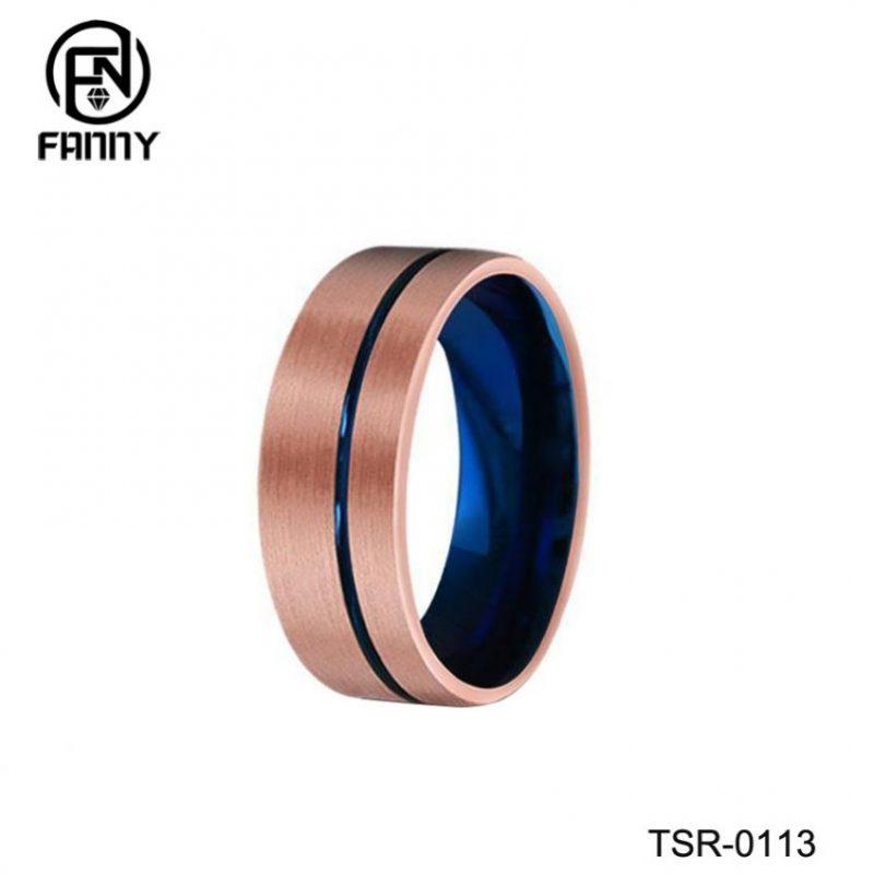 Simple Vacuum Plated Black Plus Blue Tungsten Carbide Wedding Ring Manufacturer