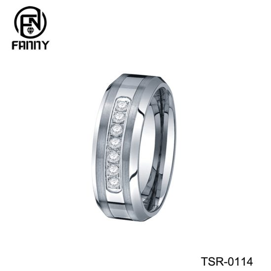 High Quality Tungsten Carbide Wedding Ring and CNC Set Cubic Zirconia 316L Stainless Steel Ring Factory