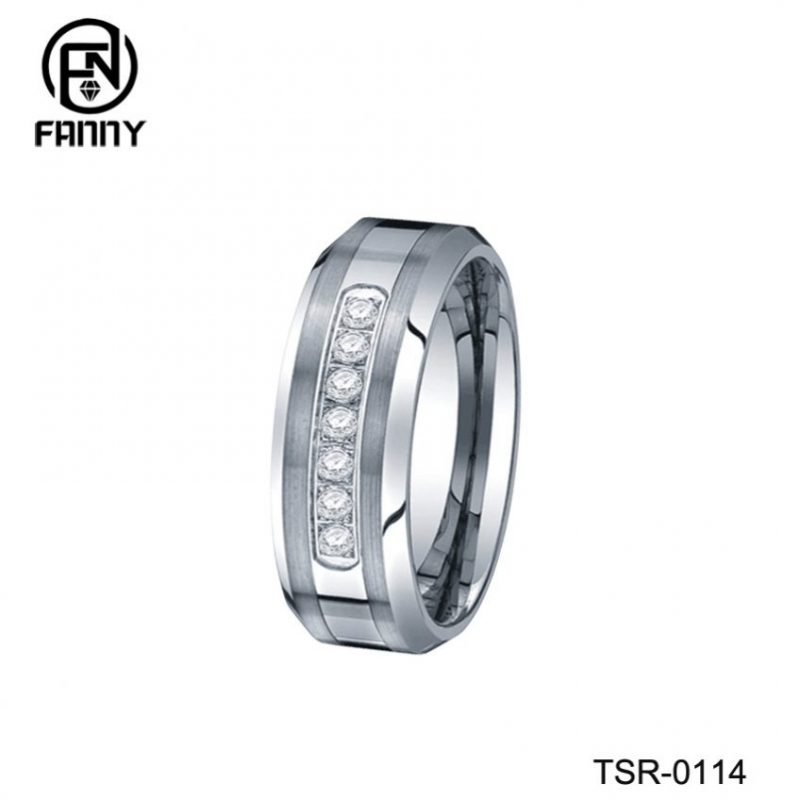 High Quality Tungsten Carbide Wedding Ring and CNC Set Cubic Zirconia 316L Stainless Steel Ring