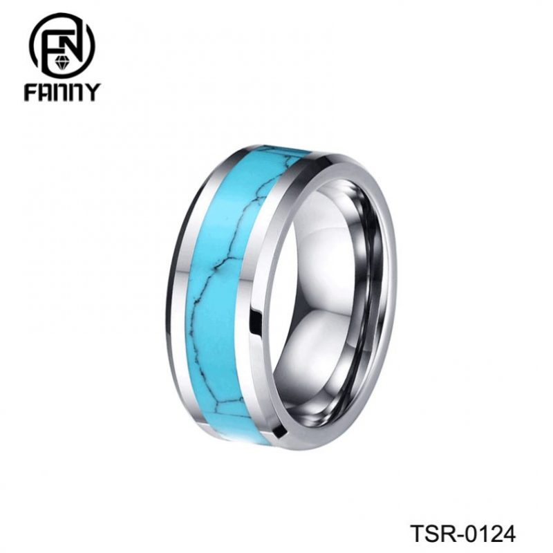 Men's Classic Flat Chamfered Tungsten Carbide Ring Set with Turquoise