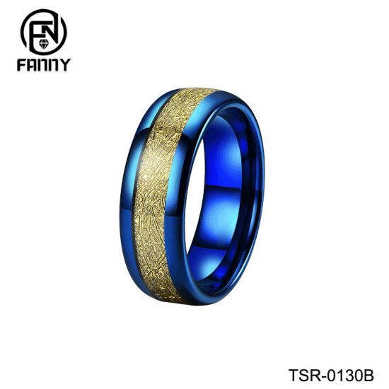 Simple Dome Plating Blue Tungsten Carbide Wedding Ring Inlaid with Artificial Meteorite China Manufacturer