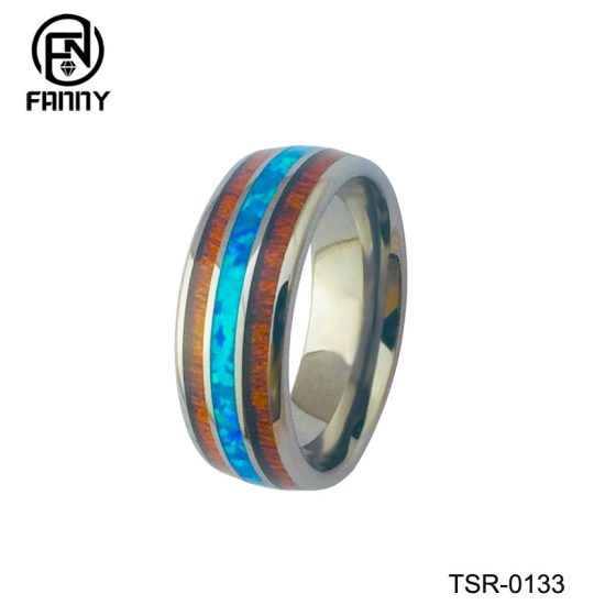 Cheap Domed Tungsten Carbide Wedding Ring with KOA and Artificial Shells Factory