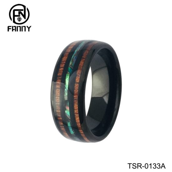 Cheap Domed Tungsten Carbide Wedding Ring with KOA and Artificial Shells China Factory