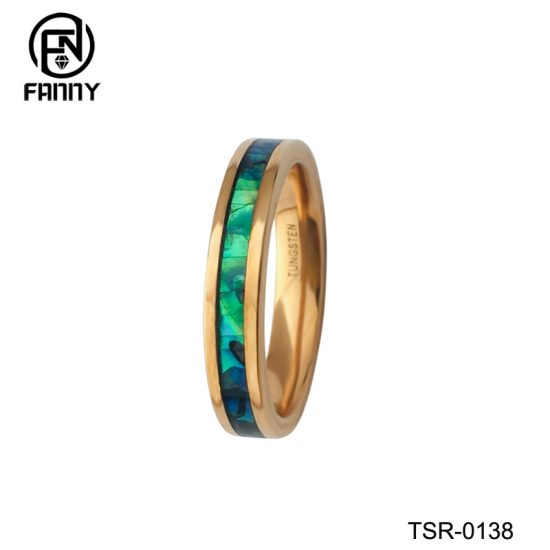 Ladies Vacuum Plating Golden Tungsten Carbide Abalone Shell Ring China Factory