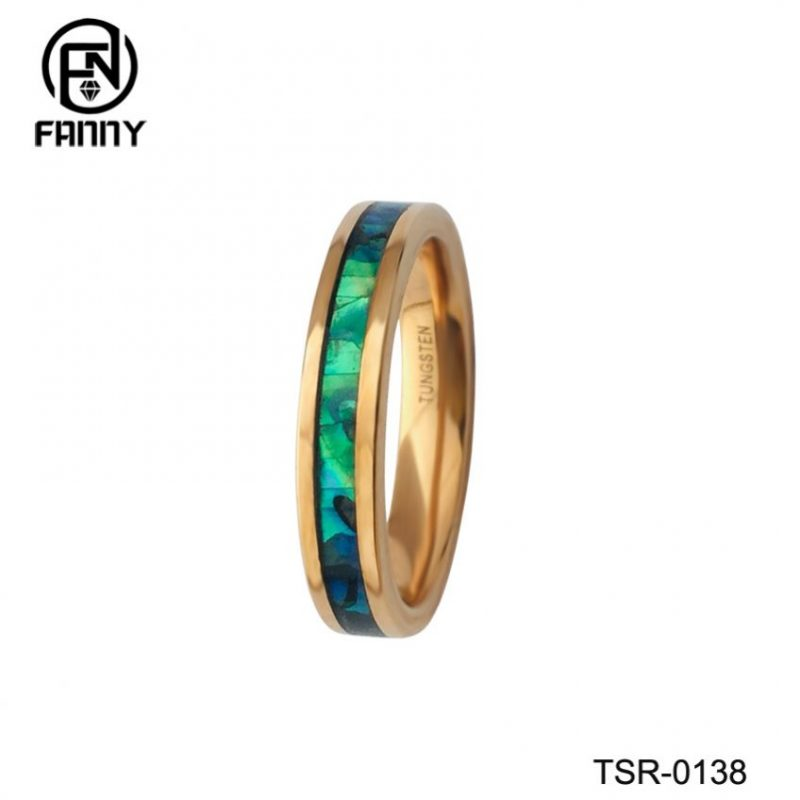 Ladies Vacuum Plating Golden Tungsten Carbide Abalone Shell Ring