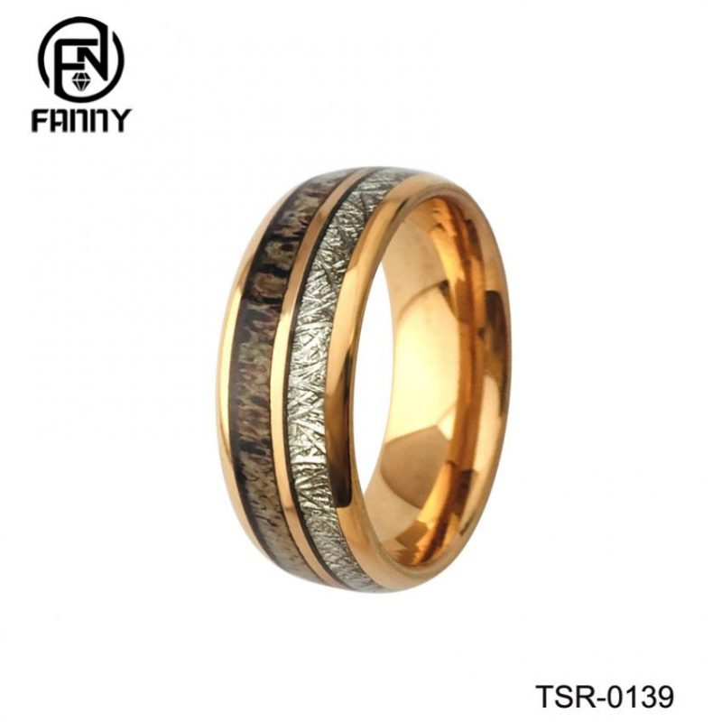 Domed Golden Tungsten Carbide Wedding Ring with Antlers and Imitation Meteorite