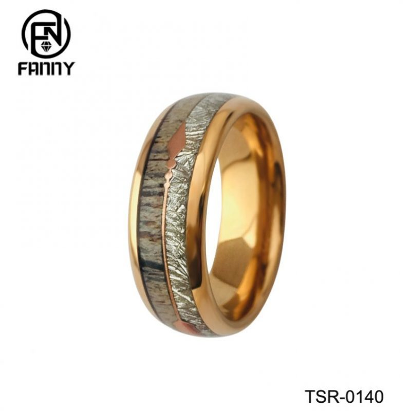 Tungsten Carbide Wedding Ring with Antlers and Artificial Meteorites and Arrows