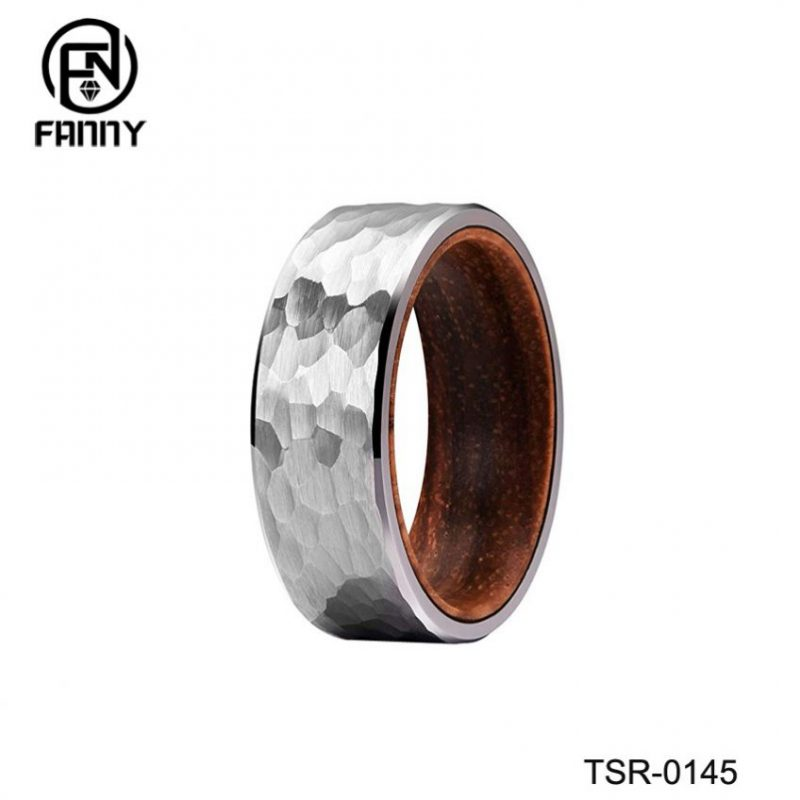 Personalized Hammered Tungsten Carbide Wedding Ring with Inner Solid Wood