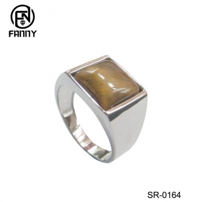 Men's 925 Sterling Silver Wedding Ring, Yellow Tiger Eye