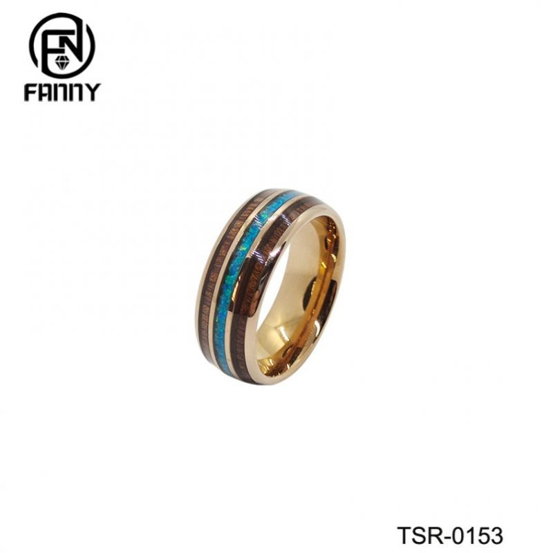 New Tungsten Carbide Ring Inlaid with Hawaiian KOA Wood Grain Paper and Opal