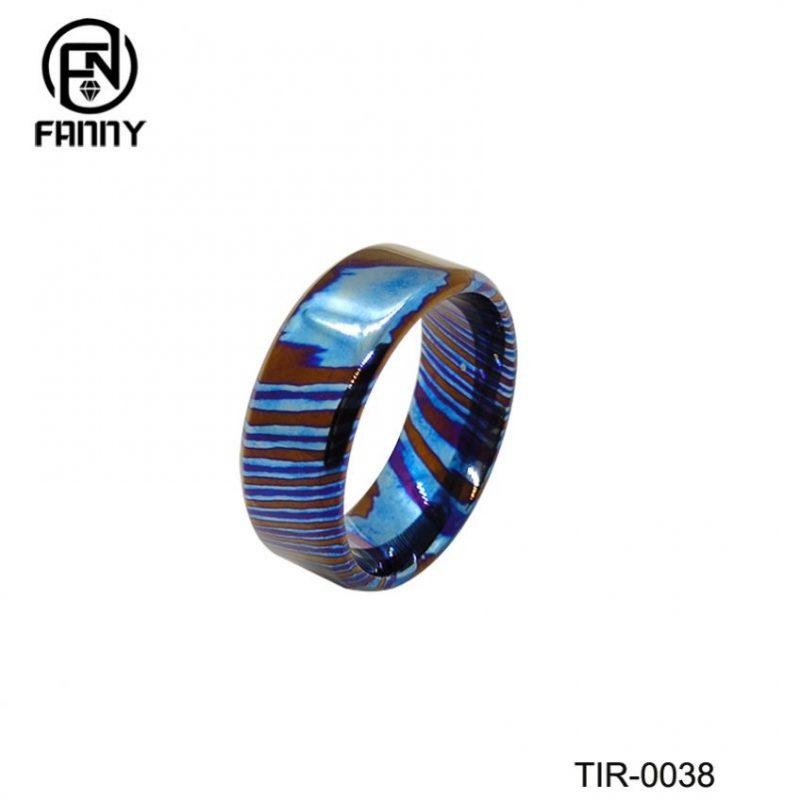 Customized Titanium Damascus Leather Wedding Ring